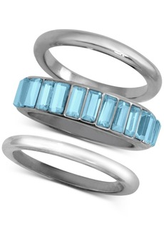 Guess 3-Pc. Set Baguette-Crystal Stack Rings