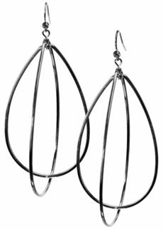 "Guess 3"" Silver-Tone Teardrop Hoop Earrings"