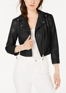 Guess 3/4-Sleeve Faux Leather Moto Jacket
