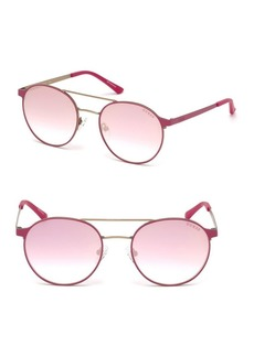 Guess 52MM Round Brow-Bar Sunglasses