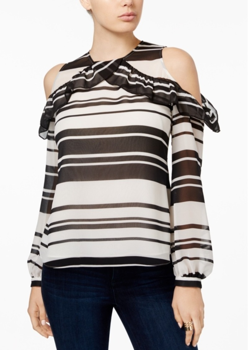 5ab97448c6a7c GUESS Guess Adler Printed Cold-Shoulder Top