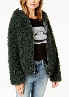 Guess After Party Hooded Faux-Fur Jacket