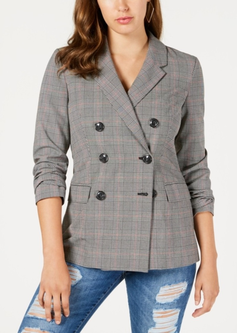 Guess Alexa Double-Breasted Plaid Blazer