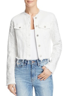 GUESS Appliqu�-Trimmed Frayed Denim Jacket