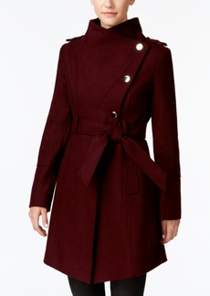 Guess Asymmetrical Belted Wool Wrap Coat