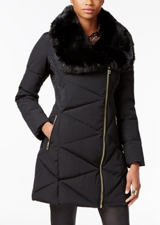 Guess Asymmetrical Faux-Fur-Collar Puffer Coat