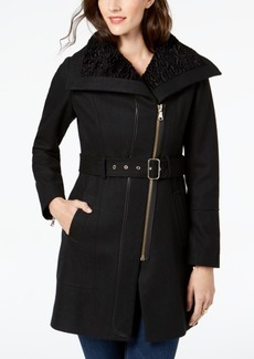 Guess Asymmetrical Faux-Fur-Lined Walker Coat