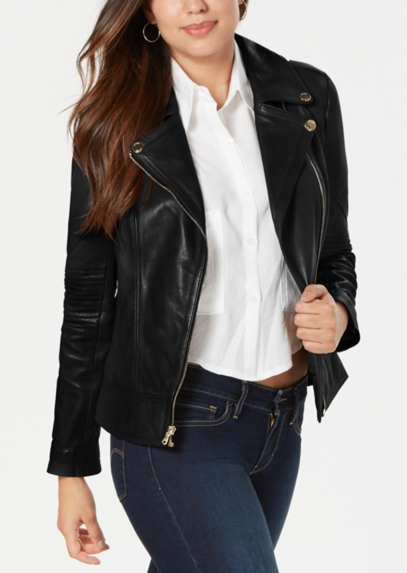 Guess Guess Basketweave Faux Leather Moto Jacket Outerwear