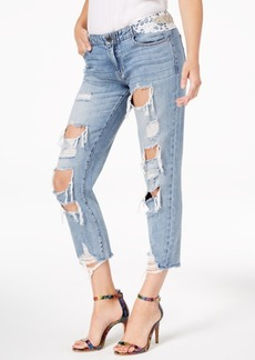 Guess Bandana Cotton Ripped Applique Jeans