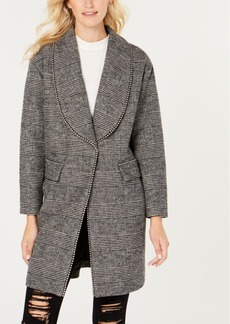 Guess Beaded-Trim Plaid Coat