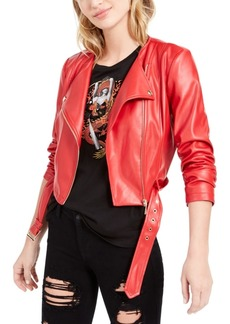 Guess Belted Cropped Moto Jacket