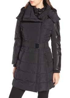 GUESS Belted Mixed Media Coat
