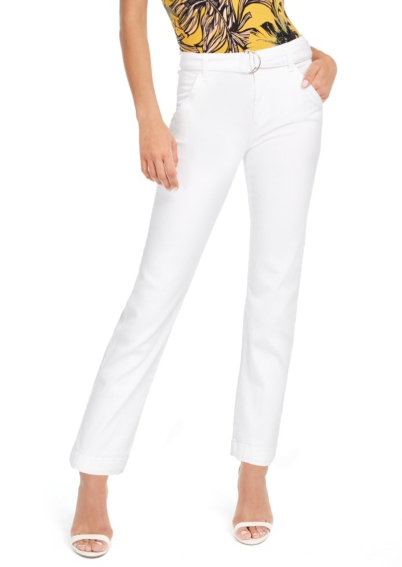 Guess Belted Straight-Leg Mid-Rise Pants