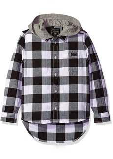 GUESS Boys' Big Long Sleeve Buffalo Check Shirt with Removable Hood Black/White