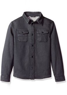 GUESS Boys' Big Long Sleeve Knit Denim Button Front Shirt with Embroidery