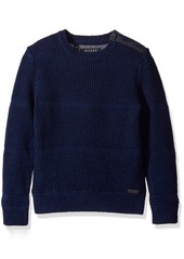 GUESS Big Boys' Long Sleeve Mixed Media Fleece and Sweater Knit
