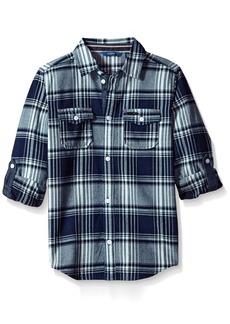 Guess Big Boys' Long Sleeve Plaid Button Down Shirt