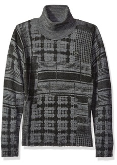GUESS Boys' Big Long Sleeve Printed Plaid Sweater