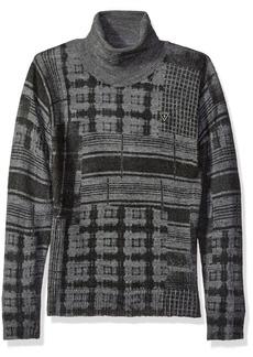 Guess Boys' Big Long Sleeve Printed Plaid Sweater