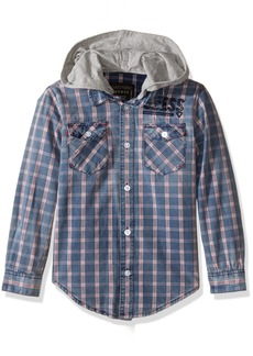 GUESS Boys' Big Long Sleeve Woven Plaid Button Front Shirt with Removable Knit Hood