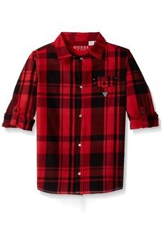 Guess Big Boys' Roll Sleeve Plaid Button Down Shirt