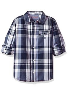 GUESS Boys' Big Roll Sleeve Plaid Button Down Shirt