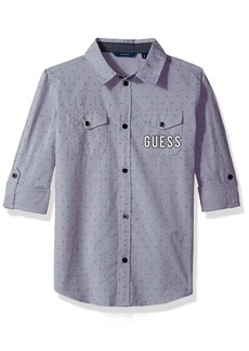 GUESS Boys' Big Roll Sleeve Woven Top