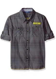 GUESS Boys' Big Roll Up Sleeve Yarn Dyed Plaid Button Front Shirt