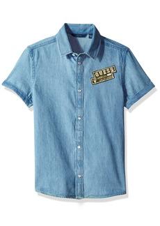 GUESS Big Boys' Short Sleeve Patch Denim Shirt