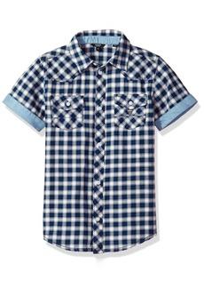 GUESS Boys' Big Short Sleeve Plaid Button Down Shirt