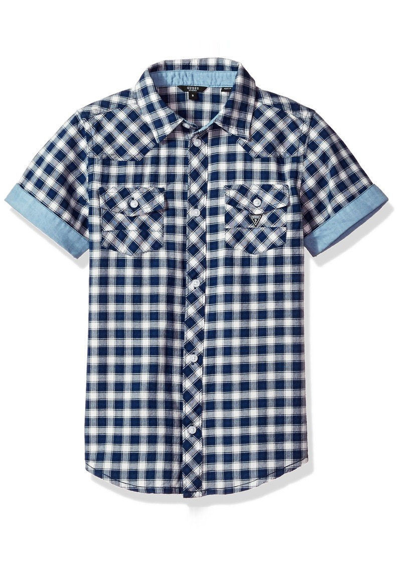 900d6a40b On Sale today! GUESS GUESS Boys  Big Short Sleeve Plaid Button Down ...
