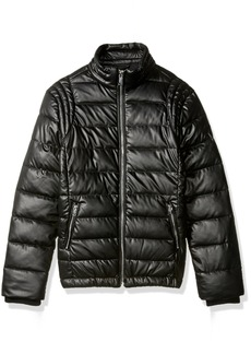 GUESS Big Boys' Smart Stretch Quilted Eco Leather Down Jacket