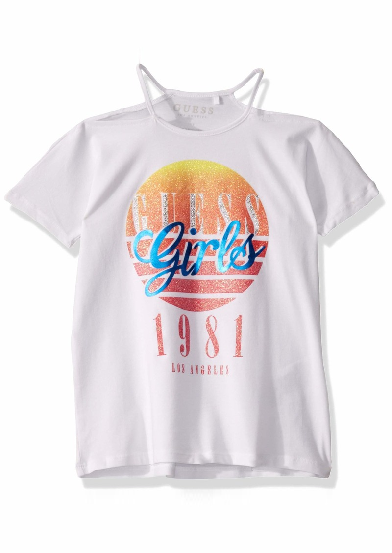 GUESS Big Cold Shoulder Sunset Girl Graphic T-Shirt  a