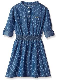 GUESS Girls' Big Adjustable Sleeve Dress Dark Discharge Print wash