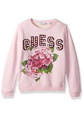 Guess Big Girls' Crewneck Graphic Pearl Embellished Long Sleeve Fleece