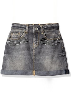 GUESS Big Girls' Denim Skirt with Studs and Flower Applique