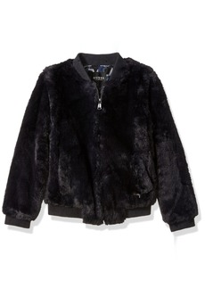 GUESS Big Girls' Faux-Fur Star Bomber Jacket