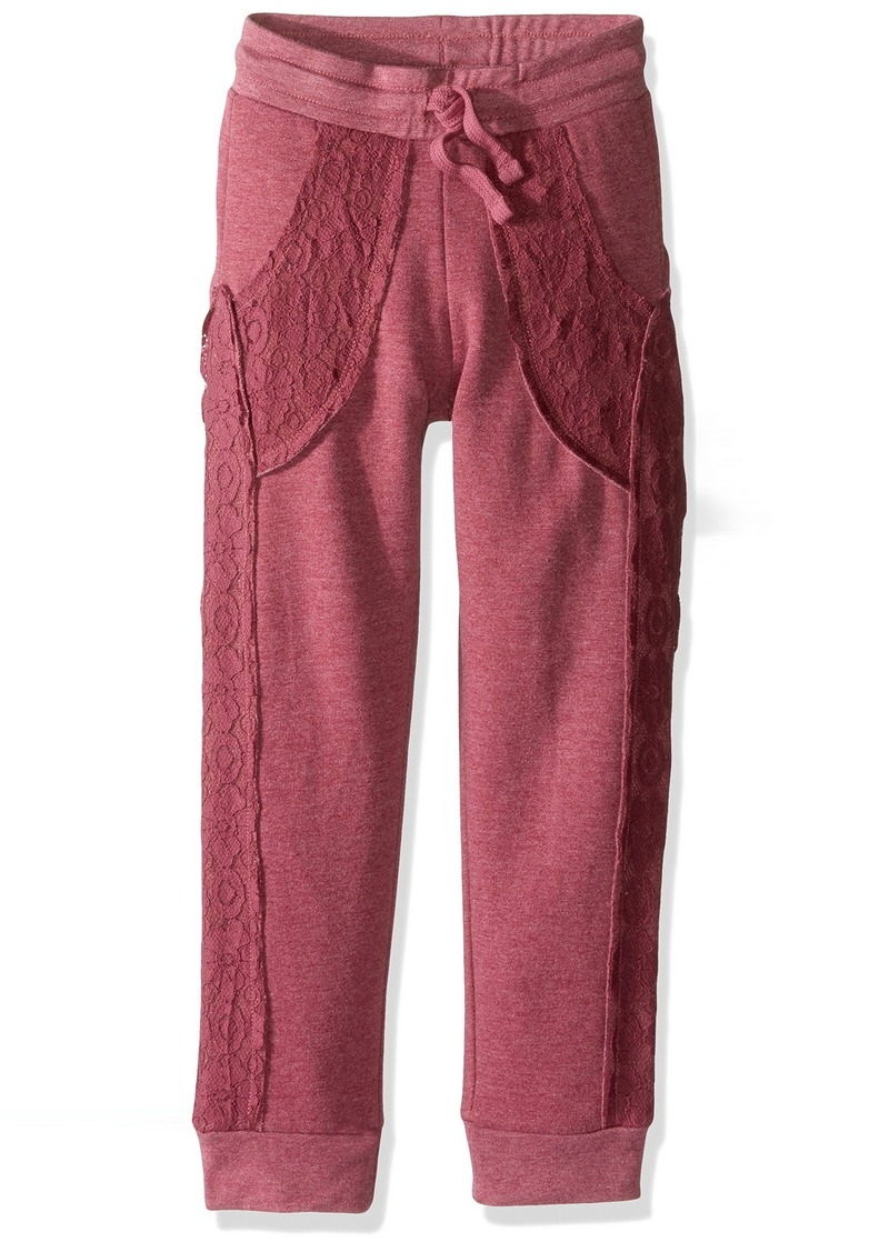 GUESS Girls' Big Fleece Pull On Pant with Lace Overlay