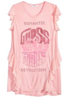 Guess Big Girls Flutter-Sleeve Graphic-Print T-Shirt
