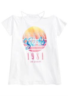 Guess Big Girls Graphic-Print Cold Shoulder T-Shirt