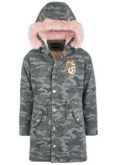 Guess Big Girls Hooded Camouflage Faux Fur Lined Parka