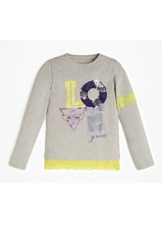 Guess Big Girls Lace Trimmed Long Sleeve T-Shirt