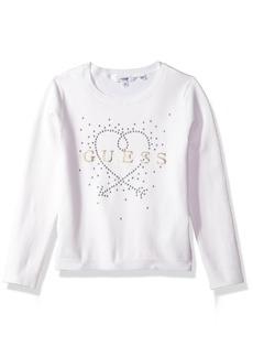GUESS Big Girls' Long Sleeve Heart Sweater