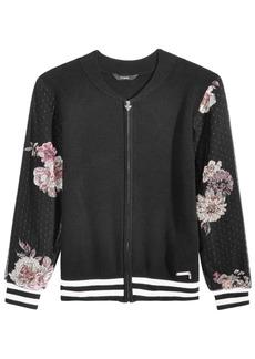 Guess Big Girls Printed Mesh Sweater Bomber Jacket
