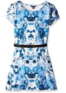 GUESS Big Girls' Printed Scuba Knit Skater Dress