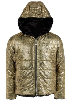 Guess Big Girls Reversible Metallic Faux Fur Puffer Jacket