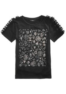 Guess Big Girls Ruffle-Trim Rhinestone T-Shirt