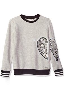 GUESS Girls' Big Sequin Broken Heart Fleece Top