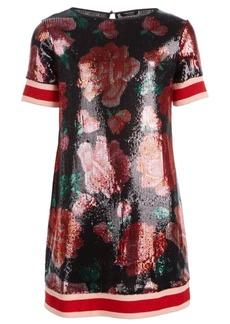 Guess Big Girls Sequin Floral Rib A-Line Dress