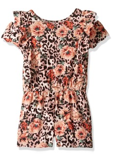 GUESS Girls' Big Short Sleeve Cold Shoulder Printed Romper in The Mood of Flower Animalie